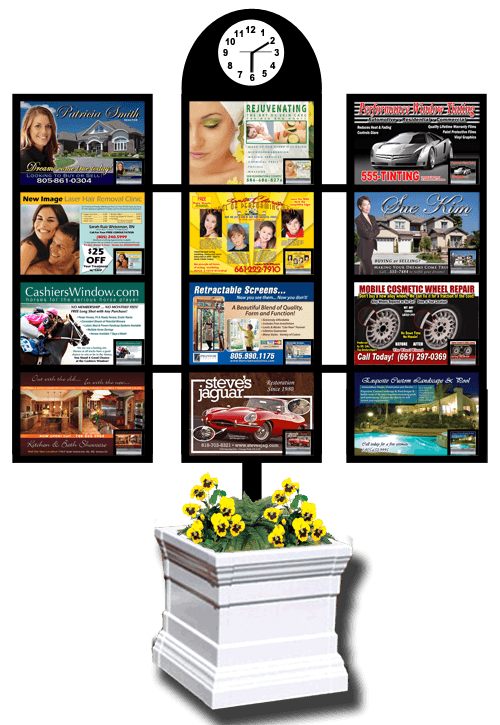 Creative Display Ads has a patented 3-panel display with business card dispensers